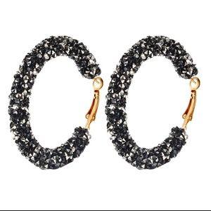 🆕✴ Black/Silver Crystal Gold Hoop Circle Earrings